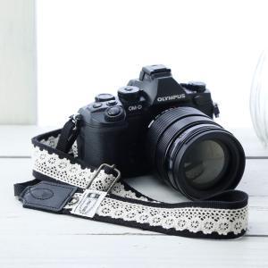 カメラストラップ camera strap 一眼レフ ミラーレス一眼用 レースブラック フリータイプ mi-na
