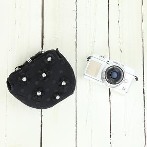 カメラケース camera case ミラーレス一眼カメラ用 カメラのお洋服 ミニ /フラワーパールブラック|mi-na