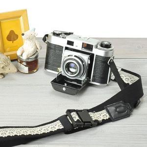 カメラストラップ camera strap ワンタッチタイプ 一眼レフ ミラーレス一眼用 レースブラック|mi-na