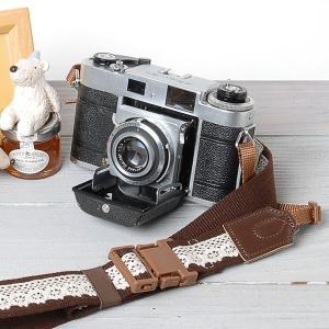 カメラストラップ camera strap ワンタッチタイプ 一眼レフ ミラーレス一眼用 レースブラウン mi-na