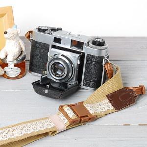 カメラストラップ camera strap ワンタッチタイプ 一眼レフ ミラーレス一眼用 レースベージュ mi-na