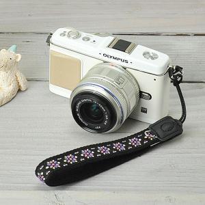カメラストラップ camera strap ミーナオリジナル ハンドストラップ チロリアン/カレイドスコープスミレ