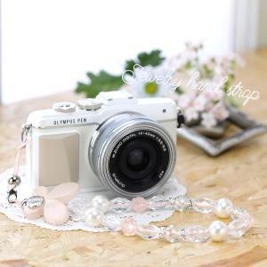 カメラストラップ camera strap ミーナオリジナル ハンドストラップ/パールピンクパピヨン mi-na