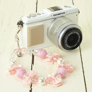 カメラストラップ camera strap ミーナオリジナル ハンドストラップ/ダブルリボンボールピンク mi-na
