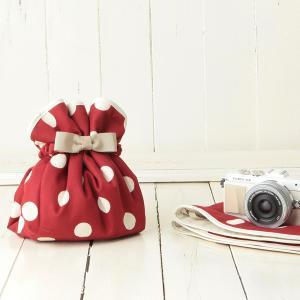 カメラ女子♪ミラーレス一眼カメラが入る!かわいいラッピングクロス「カメラのくるみん」 レディー赤ドット|mi-na