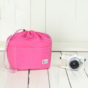 おしゃれ ふわふわソフトタイプ カメラ用 12ポケットインナーバッグ/ フューシャピンク mi-na