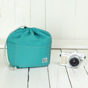 おしゃれ ふわふわソフトタイプ カメラ用 12ポケットインナーバッグ/ ターコイズブルー mi-na