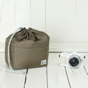 おしゃれ ふわふわソフトタイプ カメラ用 12ポケットインナーバッグ/ モンブランブラウン mi-na
