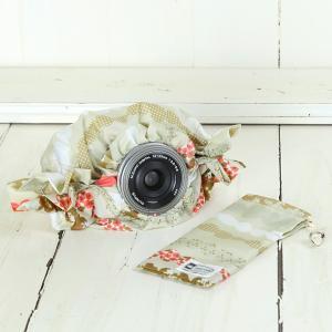 ミラーレス用 レインカバー 「カメラのレインコートミニ」 マシュマロボーダーカフェオレ|mi-na