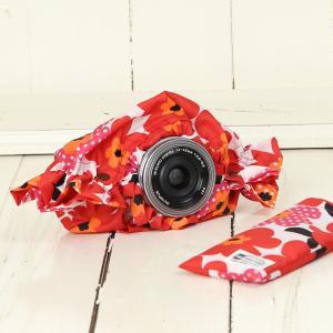 ミラーレス用 レインカバー 「カメラのレインコートミニ」 レッドフラワーポピー mi-na