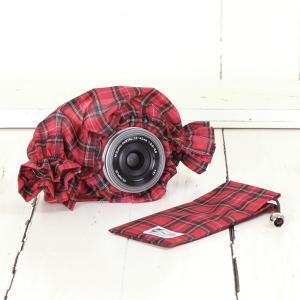 ミラーレス用 レインカバー 「カメラのレインコートミニ」 タータンチェックレッド|mi-na
