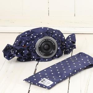 ミラーレス用 レインカバー 「カメラのレインコートミニ」 ネイビードット|mi-na