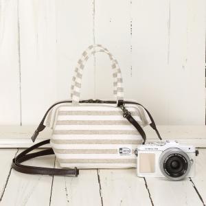 口金入り♪2WAYミニボストン型カメラバッグ camera bag/ナチュラルベージュボーダー mi-na