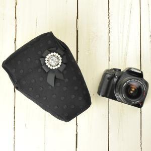 カメラケース camera case 一眼レフ用 「カメラのお洋服 ワイド」 ビーズロゼットパールブラック|mi-na