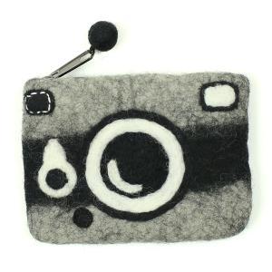 フェルトカメラ型ポーチ ブラックインク|mi-na