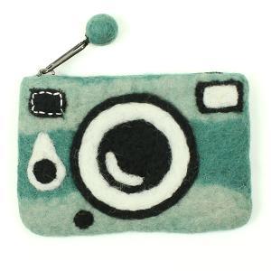 フェルトカメラ型ポーチ ブルーインク|mi-na