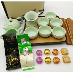 中国茶器 緑 直ぐに始められるお茶会セット  茶器13点/茶葉12包 cm1-2-30