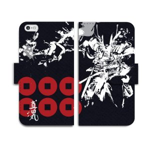 真田丸 黒ベース 手帳型 スマホケース iPhone7 iPhone6s Plus Xperia 全機種対応|mi1