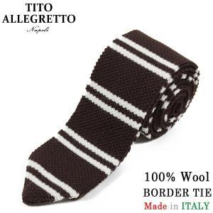 TITO ALLEGRETTO ティト アレグレット ウール ボーダー ニットタイ BROWN/WH...
