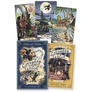 魔女、黒猫、魔女のとんがり帽子、魔法のほうきなどが可愛く鮮やかに描かれています。 ライダーウェイト版...
