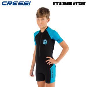 子供用ウエットスーツ [クレッシーサブ]リトルシャークショーティ CRESSI LITTLE SHARK SHORTY キッズスーツスプリング 2mm BK/BL mic21