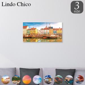 ファブリックパネル アートパネル Lindo Chico 長方形 30cm × 60cm 街 風景 建物 富士山 紅葉 パステル 北欧 水面 空 雲 お洒落 街並み 船 景色 都市 可愛い|mic319