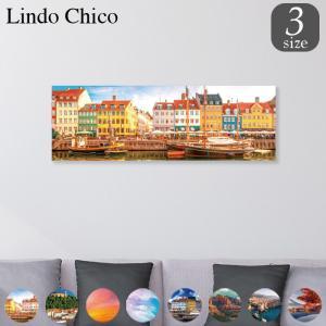ファブリックパネル アートパネル Lindo Chico 長方形 30cm × 90cm 街 風景 建物 富士山 紅葉 パステル 北欧 水面 空 雲 お洒落 街並み 船 景色 都市 可愛い|mic319