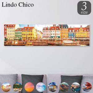 ファブリックパネル アートパネル Lindo Chico 長方形 30cm × 120cm 街 風景 建物 富士山 紅葉 パステル 北欧 水面 空 雲 お洒落 街並み 船 景色 都市 可愛い|mic319