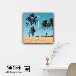 ファブリックパネル 時計 壁掛け アートパネル 正方形海 ビーチ マリン サーフ パイナップル リゾート やしの木 砂浜 静音 クロック 人気 北欧 パネル お洒落 mic319