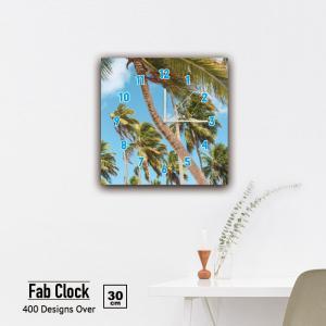 ファブリックパネル 時計 壁掛け アートパネル 正方形やしの木 空 森 パイナップル 果実 女性 水着 リゾート サーフィン 静音 クロック 人気 北欧 パネル お洒落 mic319