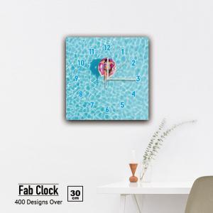 ファブリックパネル 時計 壁掛け アートパネル 正方形海 プール 浮き輪 ビーチ マリン リゾート パイナップル ポップ 静音 クロック 人気 北欧 パネル お洒落 mic319