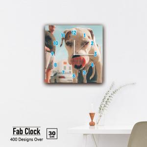 ファブリックパネル 時計 壁掛け アートパネル 正方形ペット 犬 わんちゃん 柴犬 犬 雑種 可愛い 散歩 夕焼け 夕日 愛犬 静音 クロック 人気 北欧 パネル お洒落 mic319