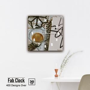 ファブリックパネル 時計 壁掛け アートパネル 正方形カフェ コーヒー キッチン カップ コップ モカ オシャレ モダン 静音 クロック 人気 北欧 パネル お洒落 mic319