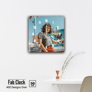 ファブリックパネル 時計 壁掛け アートパネル 正方形ストリート スナップ サングラス 女性 ファッション ヒップホップ 静音 クロック 人気 北欧 パネル お洒落 mic319