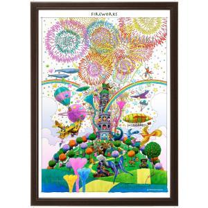 ファンタジーアート(fireworks・花火)額:CFシリーズP20号(72.7×53.0cm) マット付き・ジクレー版画|micbox-art-shop