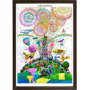 ファンタジーアート(fireworks・花火)額:CFシリーズP30号(91.0×65.2cm) マット付き・ジクレー版画|micbox-art-shop
