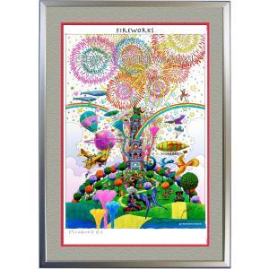 ◆fireworks (花火)・A3判 (29.7×42.0cm)・フレーム入り・MC画材用紙・アートポスター・ジクレー版画|micbox-art-shop