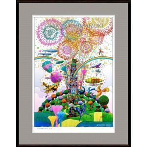 ファンタジーアート(fireworks・花火)額:FacileシリーズP10号(53.0×41.0cm) マット付き・ジクレー版画|micbox-art-shop