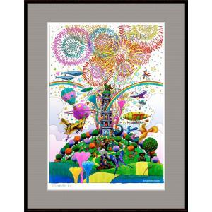 ファンタジーアート(fireworks・花火)額:FacileシリーズP15号(65.2×50.0cm) マット付き・ジクレー版画|micbox-art-shop