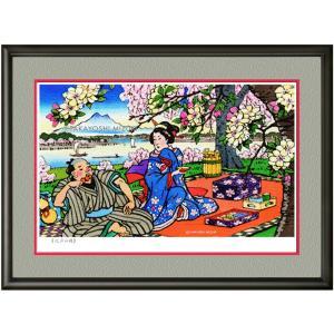 イメージアート 四季「江戸の桜」facileフレーム P6号(27.3×41.0cm)・ジクレー版画|micbox-art-shop