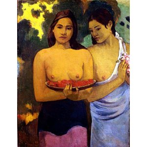 ゴーギャン 「二人のタヒチの女(赤い花と乳房)」 原画同縮尺近似(8号)(プリハード・デジタグラ)|micbox-art-shop