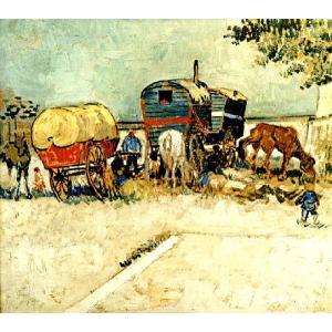 ゴッホ 「家馬車 ジプシーの野営」 原画同寸(10号)(45.5cmx51cm)(プリハード・デジタグラ)|micbox-art-shop