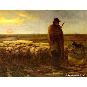 ミレー 「夕暮れに羊を連れ帰る羊飼い」  原画同縮尺近似(8号)(プリハード・デジタグラ)|micbox-art-shop