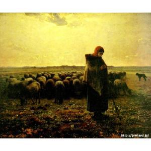 ミレー 「羊飼いの少女」 原画同縮尺近似(8号)(プリハード・デジタグラ)|micbox-art-shop