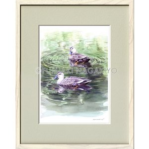 水彩画(鳥-花)永清文明 《みずかがみ》大衣判(50.9×39.4)(ジクレー版画)|micbox-art-shop