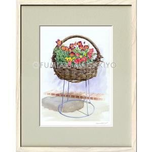水彩画(鳥-花)永清文明《パンジ−2》大衣判(50.9×39.4)(ジクレー版画)|micbox-art-shop