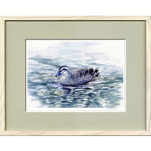 水彩画(鳥-花)永清文明 《一羽の鴨》大衣判(50.9×39.4)(ジクレー版画)|micbox-art-shop