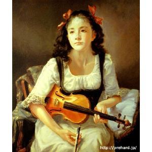 奥 龍之介「バイオリンを持つ少女」  原画同縮尺近似(10号) micbox-art-shop