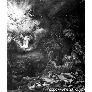 レンブラント 「天使による羊飼いへのお告げ」 原画同縮尺近似(4号)(プリハード・デジタグラ)|micbox-art-shop
