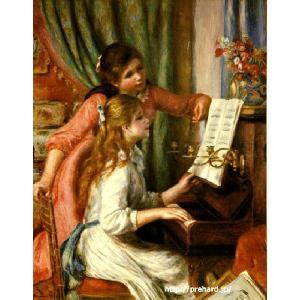 ルノアール 「ピアノに向かう二人の若い娘」 原画同縮尺近似 (6号)(プリハード・デジタグラ)|micbox-art-shop